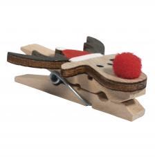 6 pinzas de madera con Alce navideño