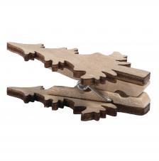6 pinzas de madera con Abeto navideño