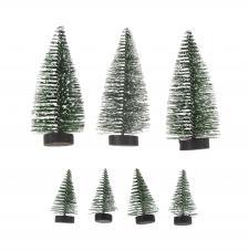 Kit 7 árboles decorativos Verde pino. 5 y 10 cm de altura