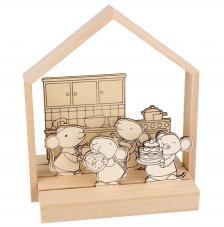 kit 3D 6 siluetas madera Ratoncitos + 6 lápices de colores