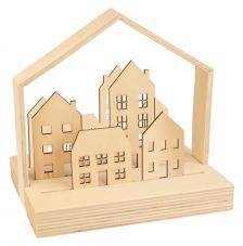 kit 3D 5 siluetas madera Casitas + 6 lápices de colores