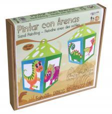 Pintar con arenas- Lámpara Farol Dinosaurios 12x12x22 cm