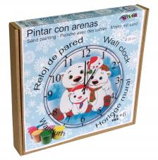 Pintar con arenas. Reloj Familia Ositos Ø30 cm