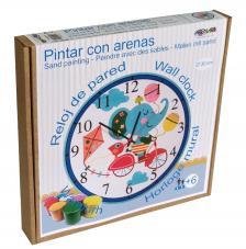 Pintar con arenas. Reloj Elefante Bicicleta Ø30 cm