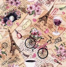 20 servilletas. Bici y Torre Eiffel