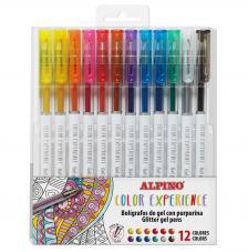 12 Boligrafos de Gel con Purpurina Color Experience