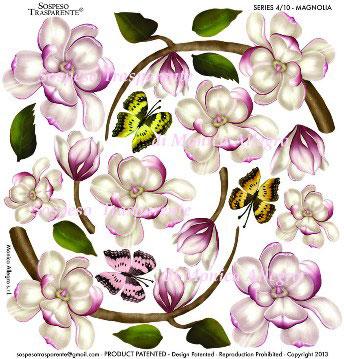 Sospeso transparente prediseñado Magnolia Botany 23x23 cm