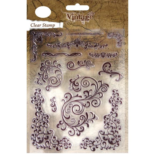 Sello de Silicona, 13 piezas 2 a 9cm.Vintage Swirls