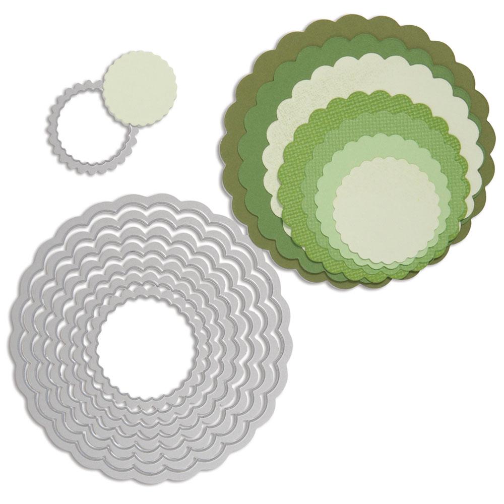 Troquel Framelit Sizzix. 8 círculos festoneados
