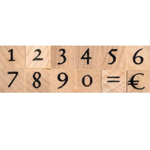 12 sellos madera números. 1x1 cm