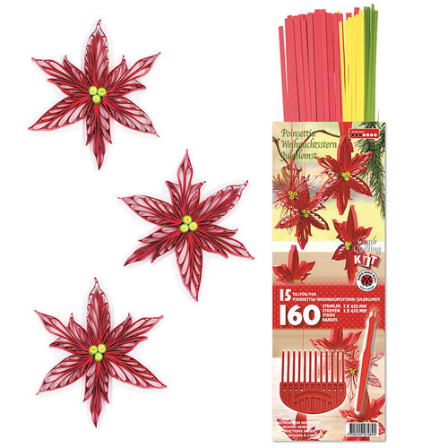 Kit quilling ponsetia red