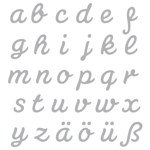 Die connected lowercase alphabet