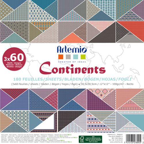 180 papeles 30,5 x 30,5 cm. Continents