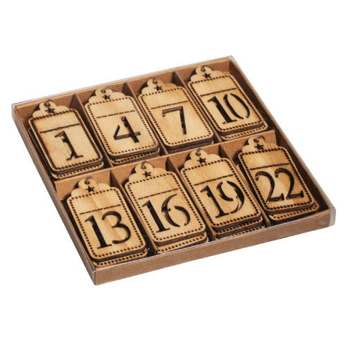 24 números tag para colgar 3x6 cm