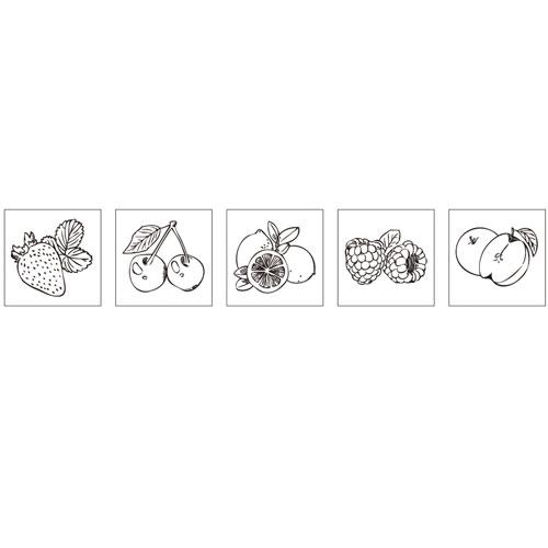 Kit 5 sellos madera de frutas