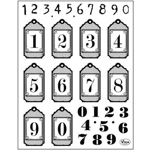 Sello de Silicona 14x18 cm. Modelo 135. Numeros y tags
