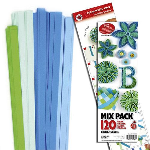 120 tiras de papel quilling 45 cm x 10 mm. Verdes y turquesas