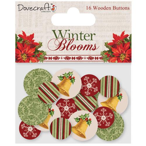 16 botones madera. Winter Blooms