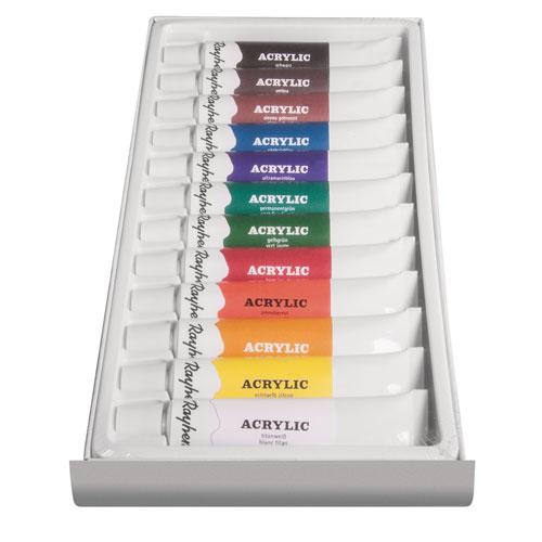 Estuche 12 pinturas acrílicas tubo 12 ml