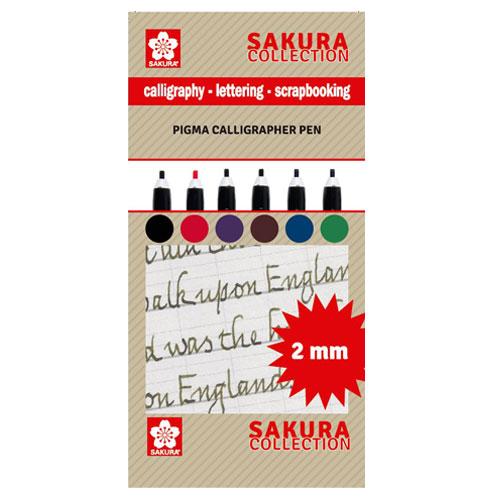 Set 6 rotuladores para caligrafia 2 mm. Sakura