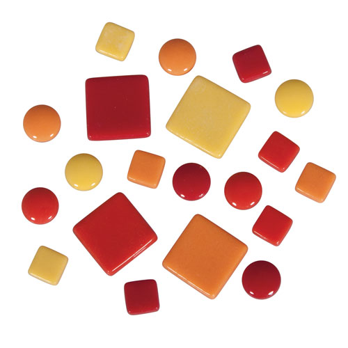 Teselas Fancy Glass Rojo y Naranja 1 y 2 cm 395 ut.