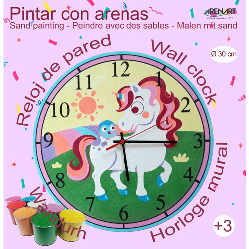 Set Pinta Reloj Pared con arenas. Unicornio