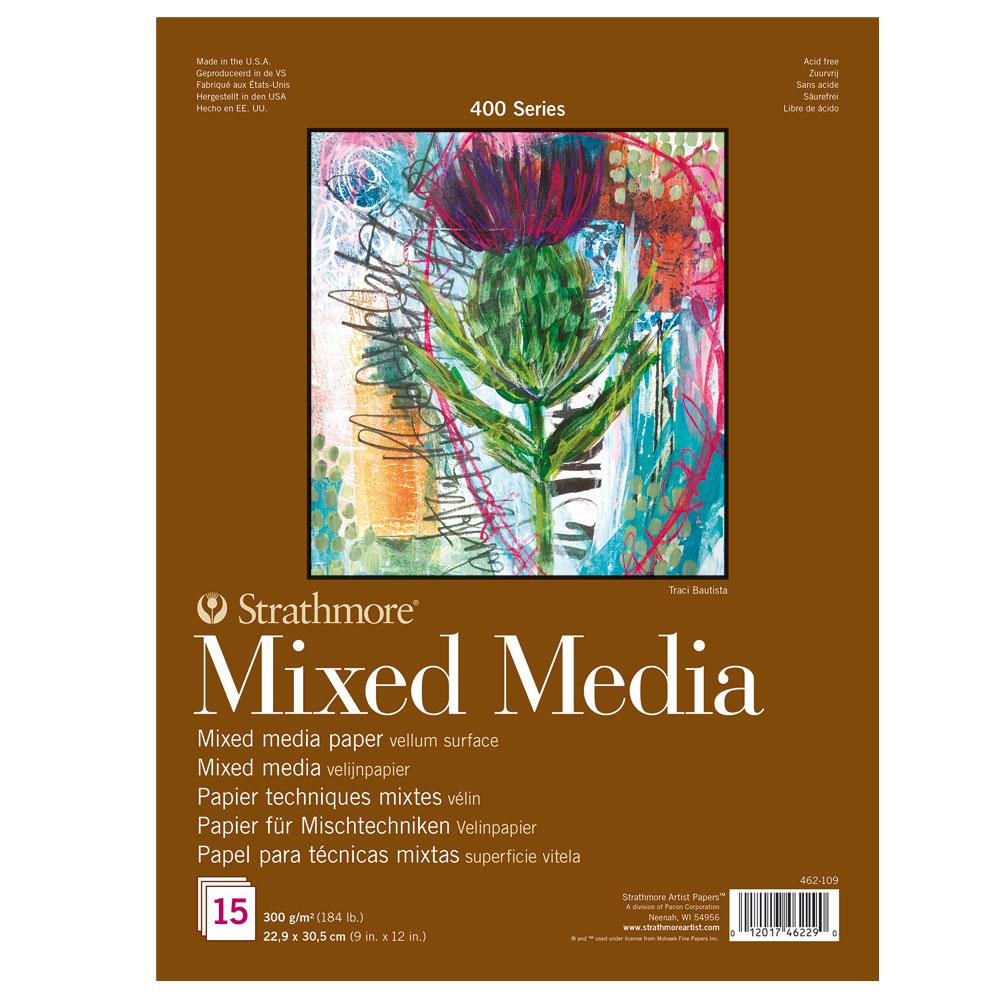 Bloc Técnicas mixtas Strathmore serie 400 15 hojas 300 g/m2. 22,9x30,5 cm