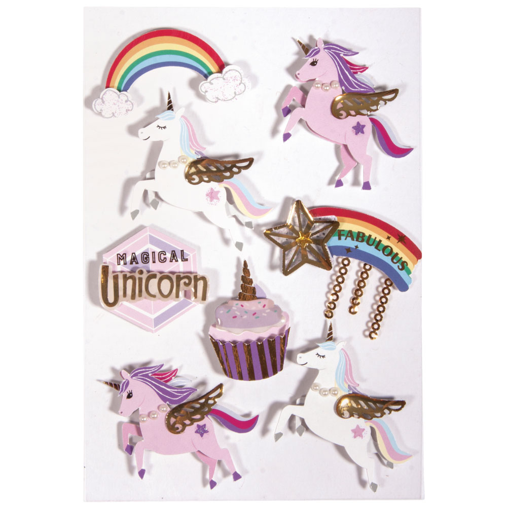 3D Sticker Unicorn 8 pzas