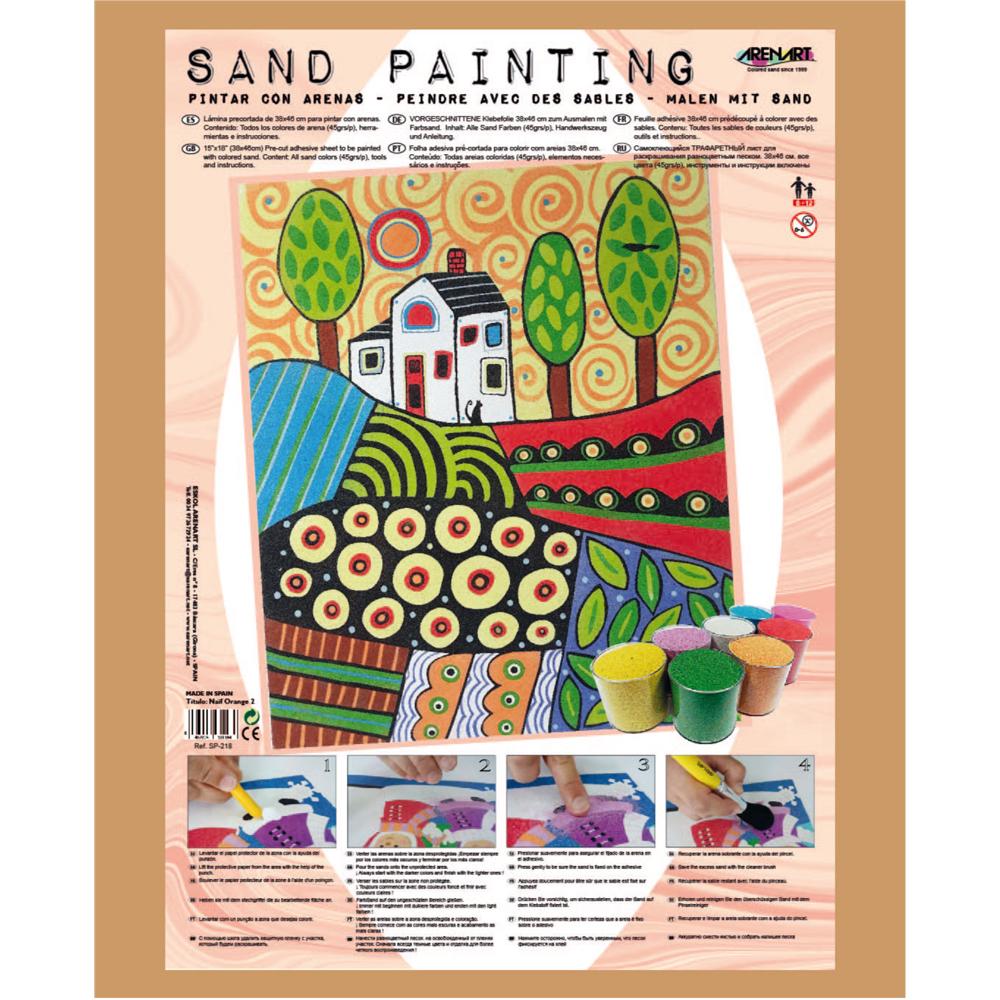 Sand Painting Paisaje Naif Orange