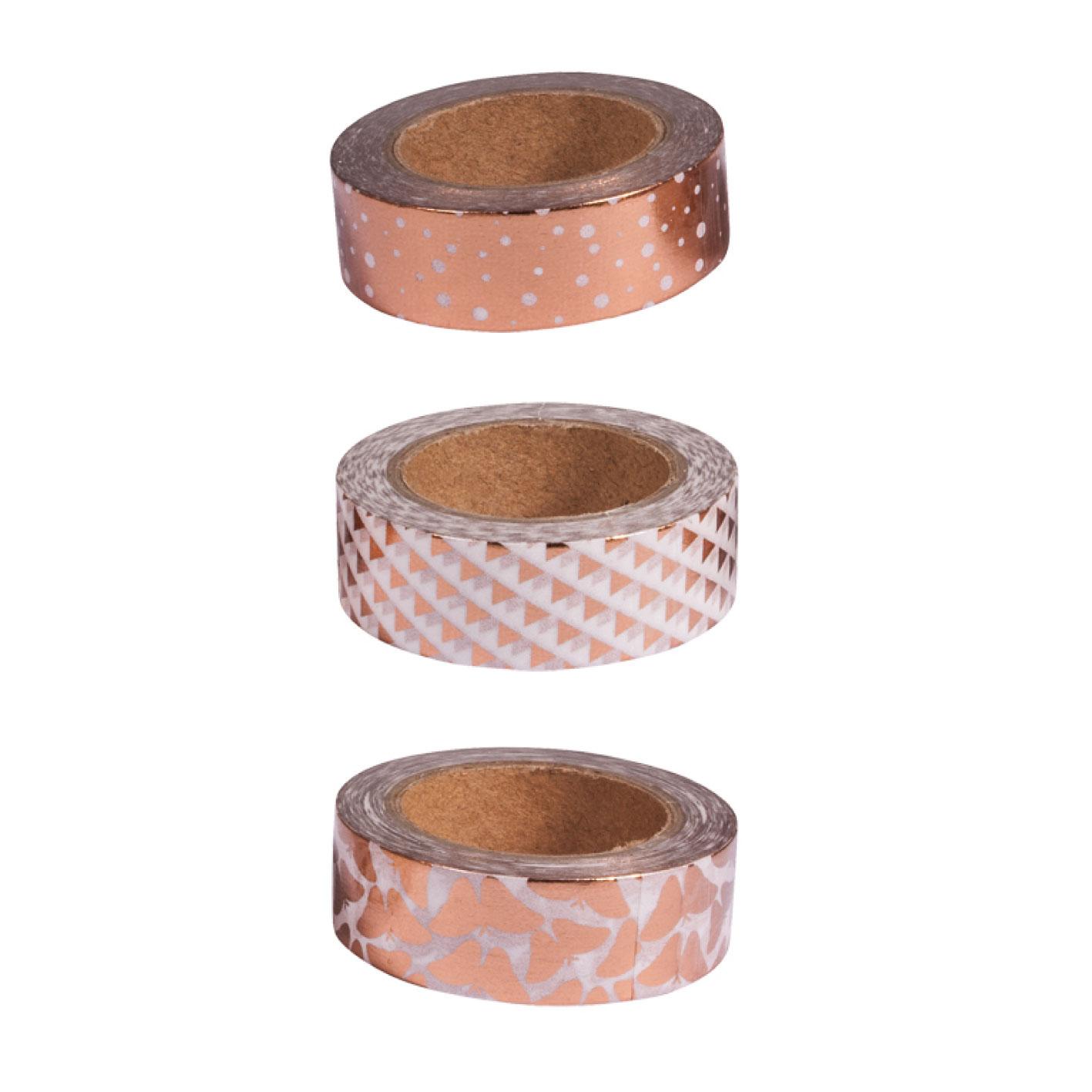 Kit 3 washi tape blanco, rosa y oro foil. 15mmx10m