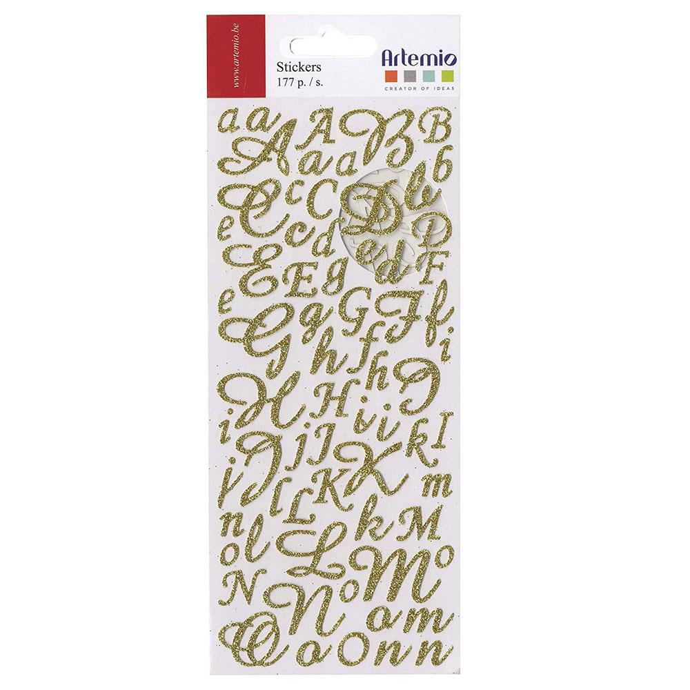 Letras adhesivas purpurina oro 177 ut. 1-2 cm