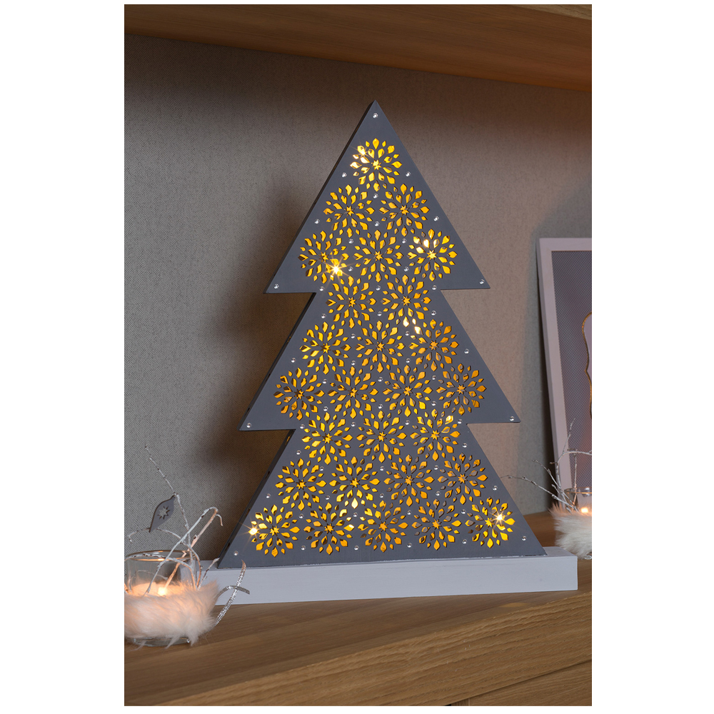 Árbol Navidad con luces leds 43x33x4,4 cm