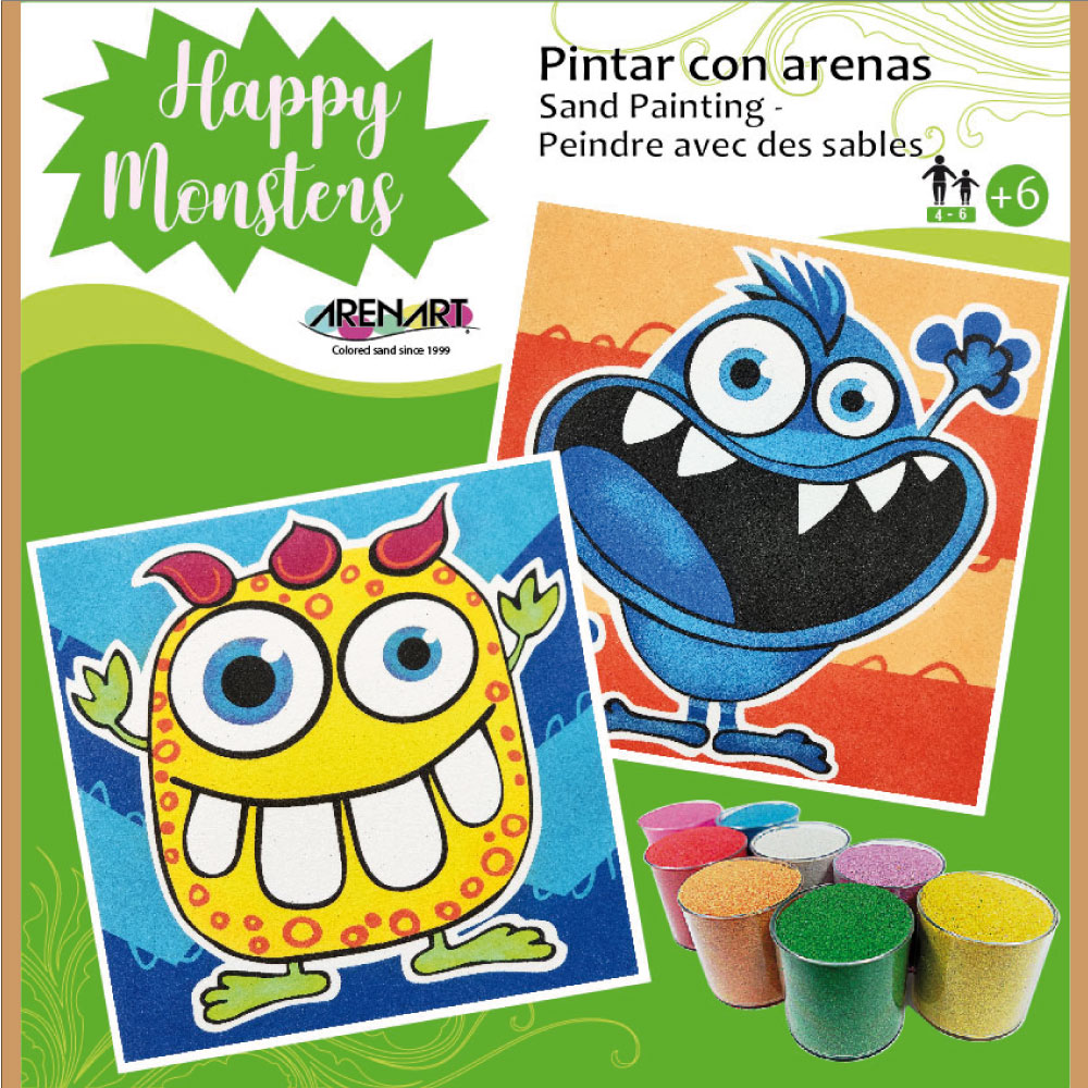 Kit Pintar con arenas Happy Monsters