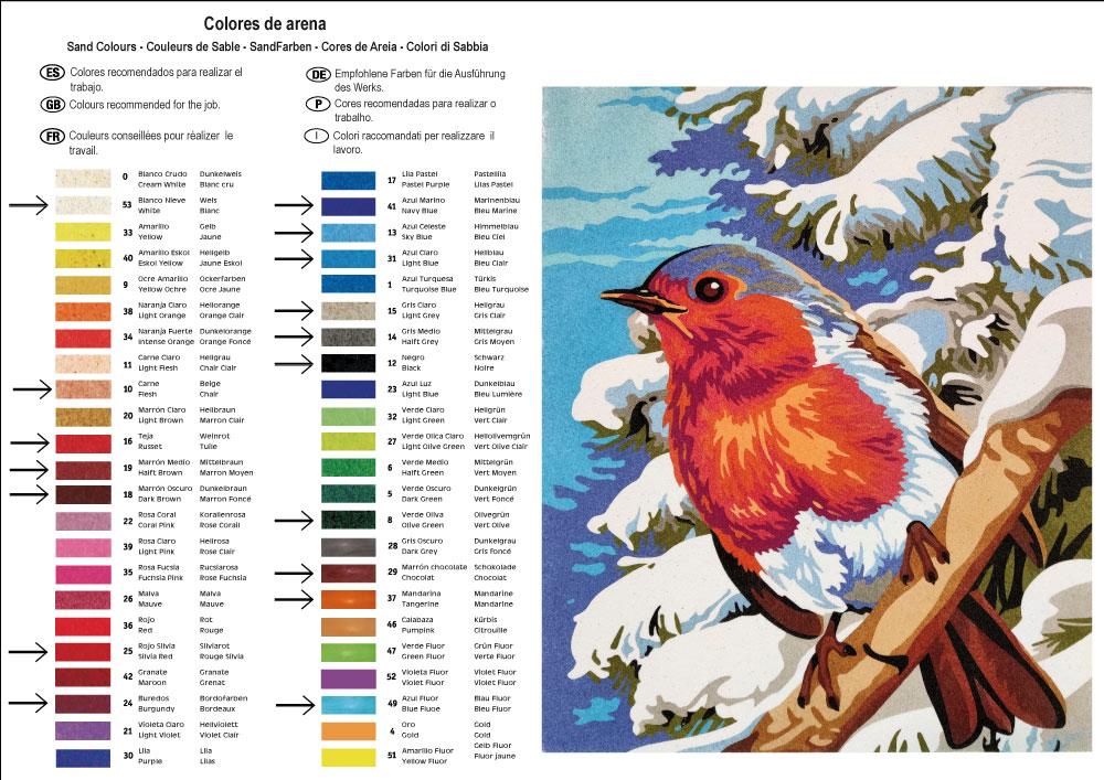 Pintar con arenas Pájaro de Invierno 38X46 cm