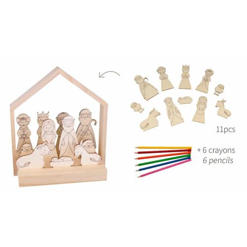 kit 3D 11 siluetas madera Belén + 6 lápices de colores